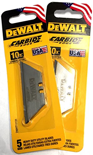 DeWalt Carbide Edge Utility Knife Blade - Last 10x Longer (10-Pack)