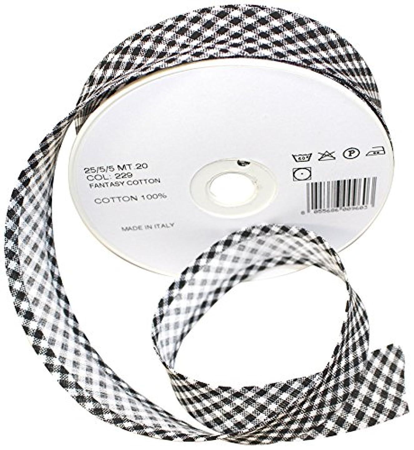 Inastri 25/5/5 mm Cotton Bias Binding 'Gingham', Black by Inastri
