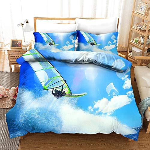 ECHODMFS Duvets Covers Pillowcase Sunshine ski Bedding 3-Pieces Super King 240x260cm Bedding Comfortable Breathable Duvet Cover Set Fashion Home Bed Linings