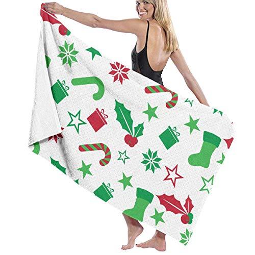 YRTGF Asciugamani Da Bagno Di Assorbimento Dell'Umidità Del Modello Degli Elementi Di Natale Asciugamani Di Spiaggia Per L'Adulto, Teenager