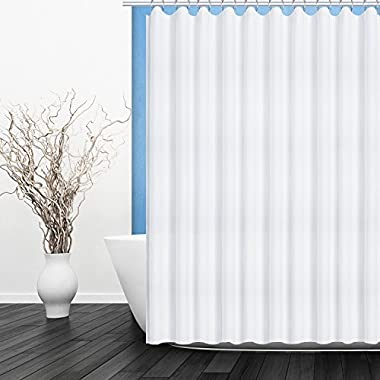 Fivanus Shower Curtain, Lock Hole Heavy Duty Bathroom Curtain Liner, Mildew Resistant Washable Polyester Fabric Shower Curtain (72 x 72 inch) White