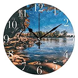 FunnyCustom Round Wall Clock Cloud Colorful Countryside Acrylic Creative Decorative for Living Room/Kitchen/Bedroom/Family