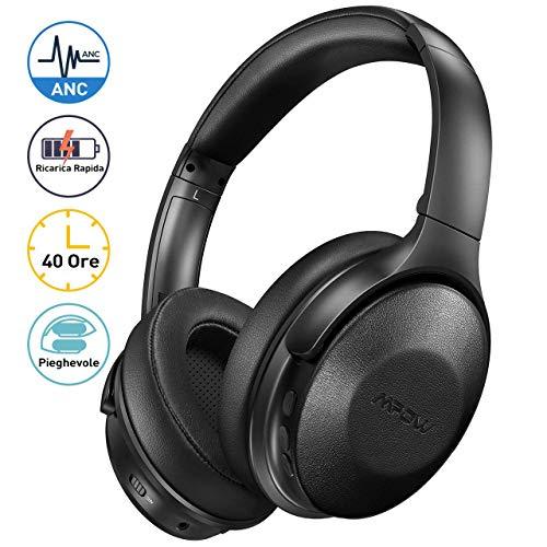 Mpow H17 Cuffie Cancellazione Rumore Attiva, Cuffie Bluetooth Con Ricarica Rapida, Autonomia 40 Ore, Cuffie Wireless Over Ear, Hi-Fi e Bassi Potenti, Cuffie Riduzione del Rumore Per Cellullari/PC/TV