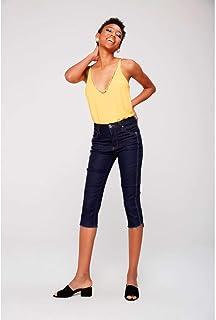Calça Capri Jeans com Detalhe na Lateral