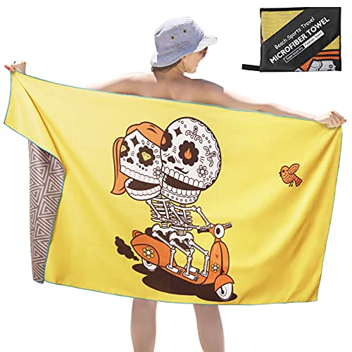 Microfiber Quick Dry Towel, Unique Skull Beach Towels Oversized 72x34in Pool Towels Oversized,Lightweight Compact Camping Towels,Super Absorbent Swimming Towel,Perfect Travel Body Towel,Nice Gift