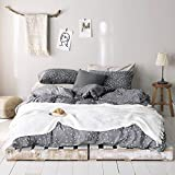 FenDie Stars Gray Duvet Cover Set King Size Bedding Microfiber Comforter Cover with Zipper Closure and Corner Ties, Lightweight and Soft