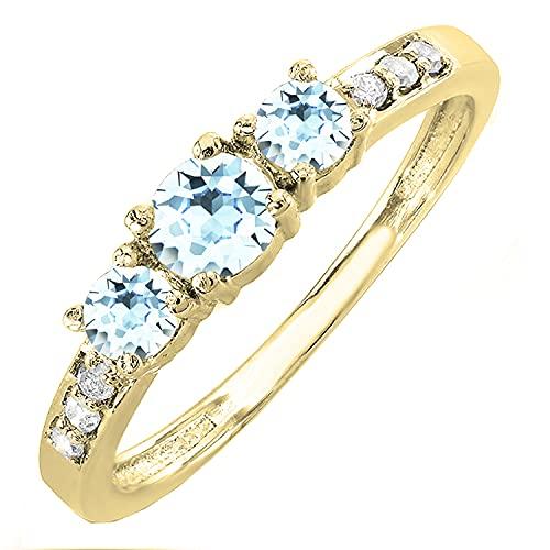 Dazzlingrock Collection Anillo de compromiso de 10 quilates con piedras preciosas redondas y diamantes blancos de 3 piedras de oro amarillo