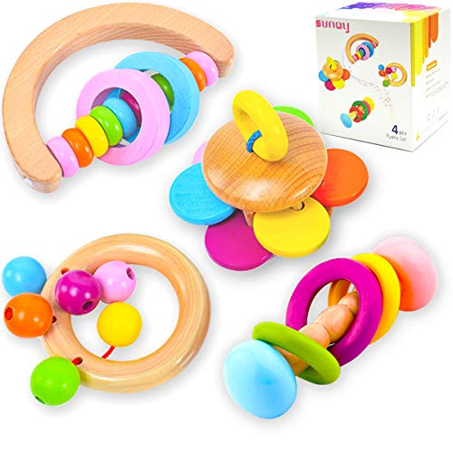 Figetget Wooden Baby Rattle (4Pack) - Baby Toys 6 to 12 Months & 0-3-6 Months - Tummy Time Toys for Baby Boy & Baby Girl Gifts - Infant Toys Baby Girl Stuff and Baby Boy Stuff