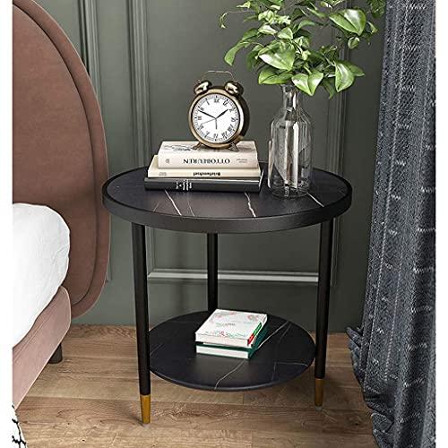 Bijzettafel Zwart metalen bijzettafel, 2-laags cirkelvormige bijzettafel, marmeren tafelblad salontafel, voor slaapkamer, woonkamer, kantoor, hoektafel