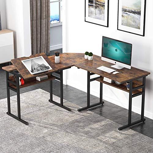 Tribesigns Mesa Escritorio, Mesa de Ordenador en Forma L, Computadora con Tablero de Dibujo inclinable, Mesa de Estudio para Oficina Hogar