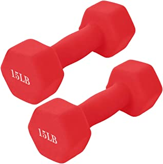 PUTEARDAT 15 Lb Dumbbell Set of 2, A Pair Neoprene Coated Weights 15 Pounds, Hex Dumbbells for Women Men (Red)