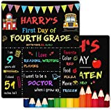 First Day of School Chalkboard, 12 x 10 Inch First Day of School Sign for Kids/Girls/Boys, Reusable Wooden Back to School Chalkboard Sign, 1st Day of Preschool/Kindergarten/First Grade Photo Props