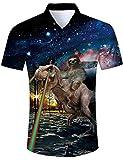 TUONROAD Camisas Dinosaurio Perezoso Estampadas Hombre Manga Corta Camisa Hawaiana Verano Casual Shirt XXL