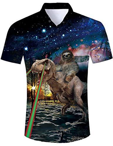 TUONROAD Camicia Hawaiana Uomo Funky Fantasia Dinosauro 3D Stampa Vintage Nero Camicia Slim Fit Manica Corta Camicia da Spiaggia Bottone Estivo Casual Shirt - M