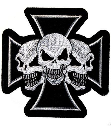 Patch écusson Croix de Malte trio skull biker custom