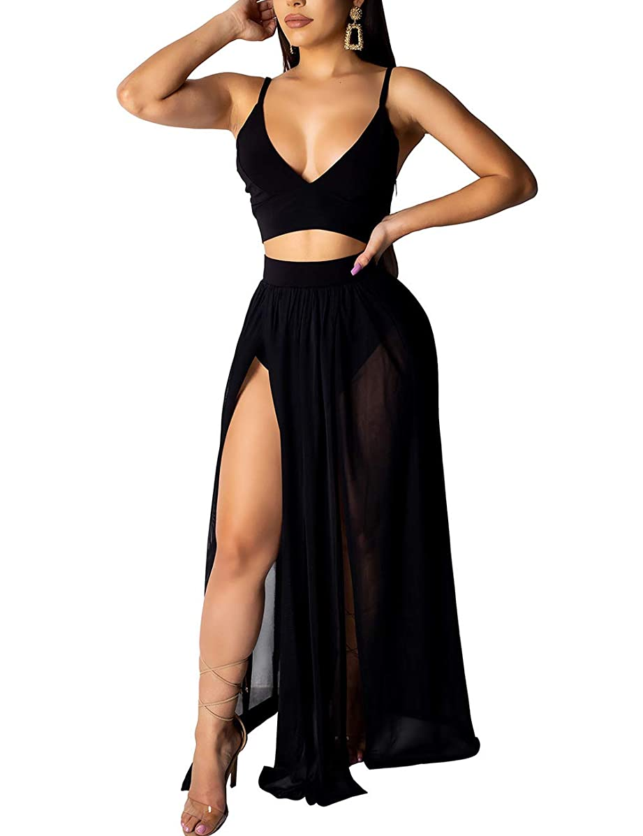 Rela Bota Women's Sexy Summer 2 Piece Maxi Chiffon Dress Crop Top Skirt Set Beachwear