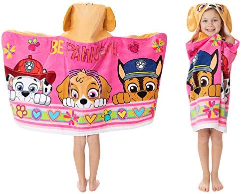 Franco Kids Bath and Beach Soft Cotton Terry Hooded Towel Wrap 24 x 50 Paw Patrol Pink product image