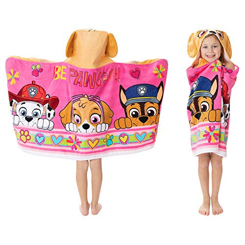 Franco Kids Bath and Beach Soft Cotton Terry Hooded Towel Wrap, 24' x 50', Paw Patrol Pink