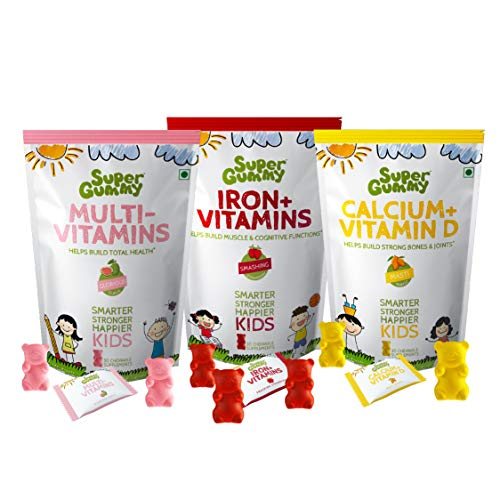 Super Gummy Multivitamin & Calcium & Iron Gummies for Kids, Overall Growth, Strong Bones and Improved Cognition (Combo 3 Pack, 30 Chewable Gummy Bears Per Pack)