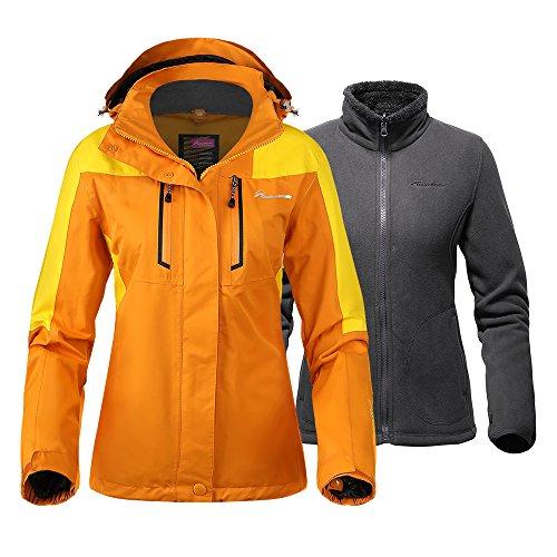 OutdoorMaster Damen 3in1 Skijacke Winterjacke Set mit Fleece-Innenjacke & Kapuze Wasserdicht Shell für Damen, Damen, Papaya Orange, Large