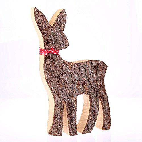 Holzdeko Reh groß, Ausführung Rinde, Weihnachtsdeko, Holzreh Weihnachten