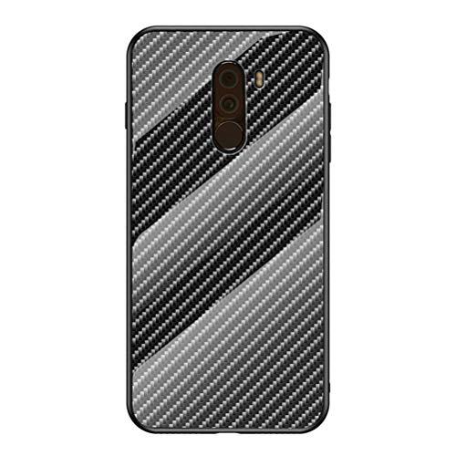 ZDCASE Xiaomi Poco F1 Funda, Fibra de Carbon Patrón Vidrio Templado Espalda A Prueba de Choques Suave TPU Parachoque Antihuellas Protectora Funda para Xiaomi Pocophone F1 / Poco F1 - Negro