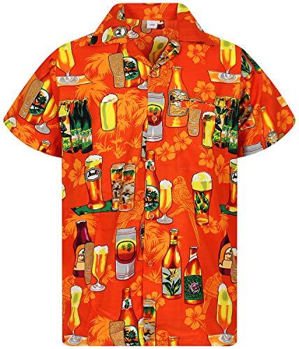 V.H.O. Funky Hawaiihemd, Kurzarm, Bierflaschen, Orange, XL