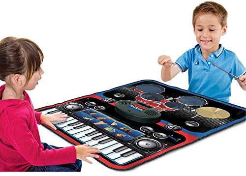 divine man Functional Drum & Piano Foldable Music Mat with 5 Piece Drum, 2 Drum Sticks, 14 Demos, 24 Key Piano Keyboard with 8 Different Recordable Musical Instruments, Powerful Speakers