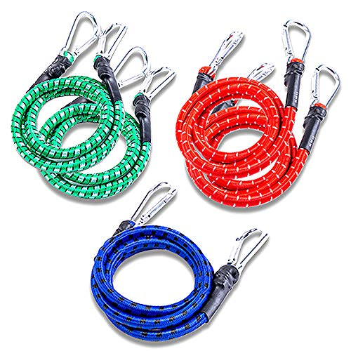 Skystuff 5Pcs Bungee Cord Elastic Bungee Straps Assorted Lengths Heavy Duty Bungee Ropes with Metal Hooks for Caravan Camping RVs Trunks Luggage Racks