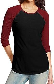 QinMM Camiseta de béisbol Casual para Mujer, Blusa Deportes de otoño Tops