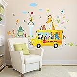qwerdf Tiere In Der Schule Bus Wand Stickers Home Decals Addive PVC Dekoration Art-Plakat Wandtafel Fr Baby Bedroom Stein