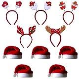 COSORO 5Pcs Unisex Babbo Natale Cappelli 40 x 30 cm Cappello da Babbo Natale e 5Pcs Testa di Natale Boppers Fasce di Natale Xmas Festa di Santa Festa di Natale Cappelli Regalo per Adulti/Bambini