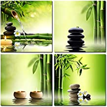 Pyradecor 4 Panel Perfect Bamboo Green Pictures Paintings on Canvas Prints Wall Art Large Modern Gallery Wrapped Zen Giclee Artwork for Living Room Bedroom Home Office Decorations