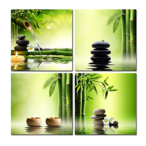 Wieco Art - Modern 4 Panels Stretched and Framed Contemporary Zen Giclee Canvas Prints Perfect Bamboo Green Pictures Paintings on Canvas Wall Art for Home Office Decorations Living Room Bedroom