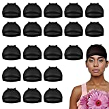 20 Pieces Wig Caps, Wig Caps for Women Lace Front Wig Stocking Caps for Wigs Nude Wig Cap (Black)