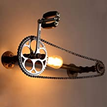 Hbgnsm Vintage Water Pipe Wall Lamp Industrial Style Gearbox Gearbox Wall Lamp Creative Bicycle Design Metal Decoration Lighting,Picture Color,A Unique