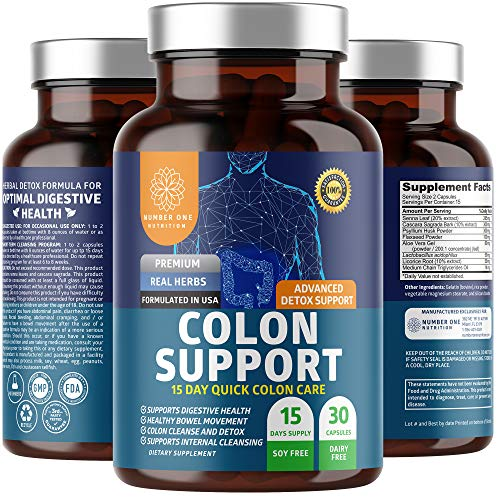 N1N Premium Colon Cleanse & Detox for Weight Loss [15-Day Quick Cleanse] All Natural Colon Detox with Probiotic for Constipation Relief, Gut Health and Energy Boost, 30 Capsules