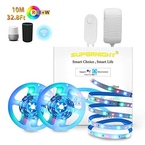 RGBW LED Strip Supernight Lumières 12V Kit 10M (2*5M) 2835 led 280LEDs / Rouleau NON étanche avec Mini Contrôleur Wi-Fi (Alexa, Google Voice contrôle vocal) et DC12V 3A LED Power Adapter La fourniture