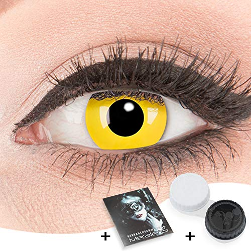 Glamlens Farblinsen gelb 1 Paar deckend farbige gelbe Kontaktlinsen Crazy Fun- Yellow -Kontaktlinsen Stärke -1,00 bis -6,00 (0,0 Ohne Stärke)