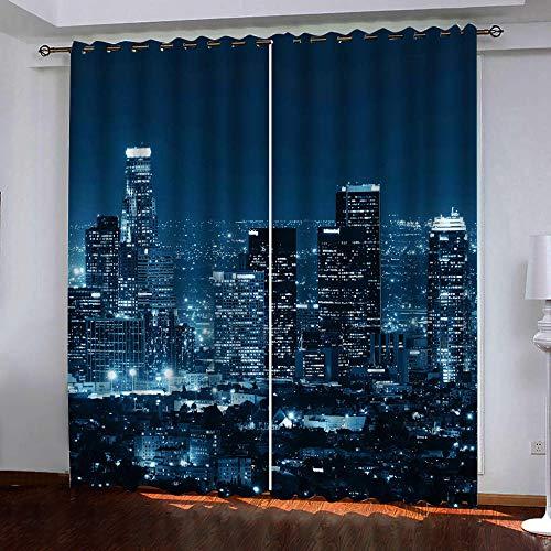 ZHHSJJ Oeillets Rideaux Occultants New York City 2xL117cmxH138cm Isolant Thermique Rideaux Fille Rideaux Chambre Salon 2 Pieces