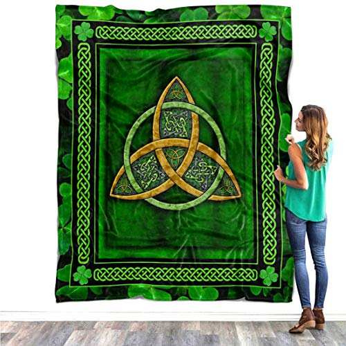 Celtic Trinity Knot Quilt Pattern Blanket Comforters with Reversible Cotton Irish Shamrock Clover Quilted Birthday Gifts Irish Shamrock Blanket Gift for Christmas Xmas - Fleece Sherpa Blanket