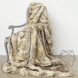Best Home Fashion Kitt Fox Faux Fur Lounge Throw Blanket 58