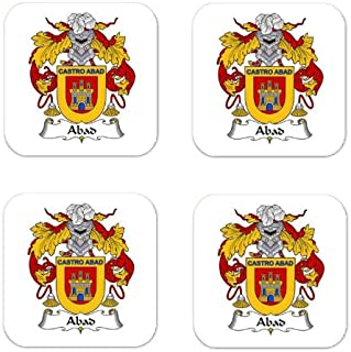 Abad Family Crest Square Coasters Coat of Arms Coasters - Set of 4