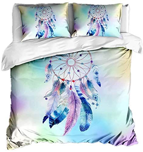 XUNGENG - Funda de edredón, diseño de atrapasueños con mandala 3D, microfibra, juego de ropa de cama, fundas de almohada, para niños, colorido, plumas y campanillas eólicas (220 x 260 cm)