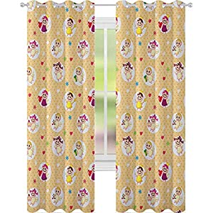Crib Bedding And Baby Bedding Curtains,Childhood Baby Nursery Kids Motherly Love Playroom Toddler Polka Dots Graphic,W52 X L72 Printing Window Treatment Panels For Living Room,Pale Yellow White