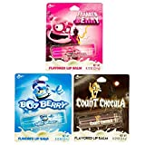 3 Pack Monster Cereal Flavored Lip Balm - Franken Berry, Boo Berry, Count Chocolate