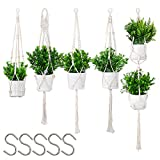 Macrame Plant Hanger 5 Pack Hanging Planters Handmade Cotton Rope Hanging Plant Holder for Flower Pots with 5 Hooks for Indoor Outdoor Macrame Home Decor