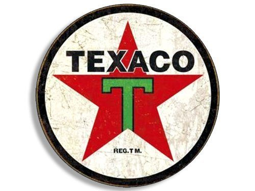 GHaynes Distributing Round Vintage TEXACO Gas Sticker Decal (gasoline logo old rat rod) 4 x 4 inch