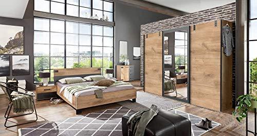 lifestyle4living Schlafzimmer Komplett Set in Plankeneiche-Dekor und Graphit, 4-teilig   Komplettset mit Kleiderschrank, Bett und Nachtschränken im Industrial-Stil