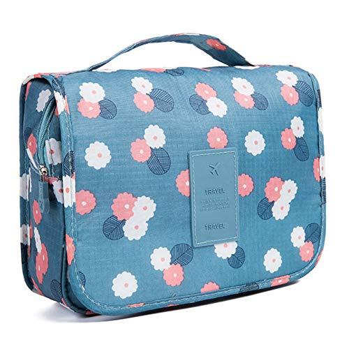 Boîte cosmétique Crochet Sac De Rangement Sac À Cosmétiques Fleur Bleue Portable Voyage Pliant Sac À Cosmétiques (Couleur : Blue)